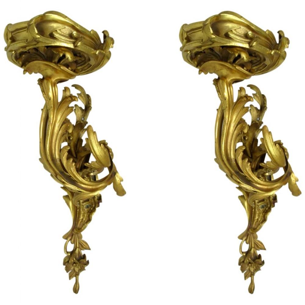 pair french ormolu wall brackets shelves appliques sconces juste aurele meissonier 19ct