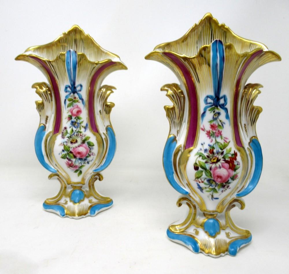 antique pair french vieux paris gilt porcelain vases urns flowers sevres style