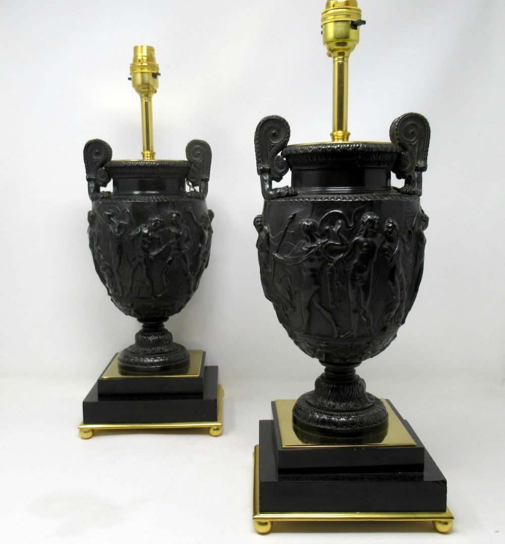 pair french bronzed ormolu marble electric table lamps townley urn vase 19th ct