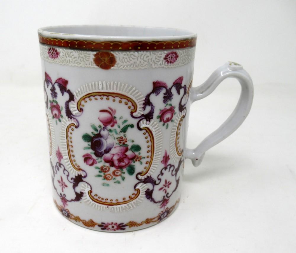 chinese canton porcelain famille rose blue white tankard mug qianlong 18th cent