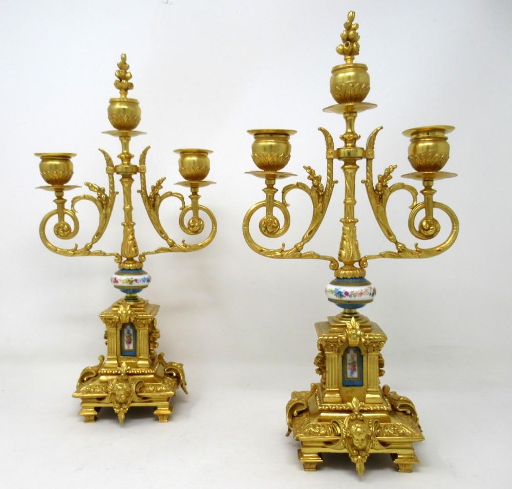 antique pair french ormolu bronze sevres porcelain candelabra 19th century