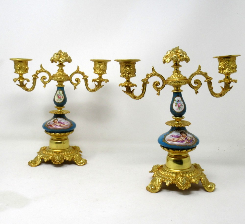 antique pair french sevres porcelain gilt bronze twin light candelabra