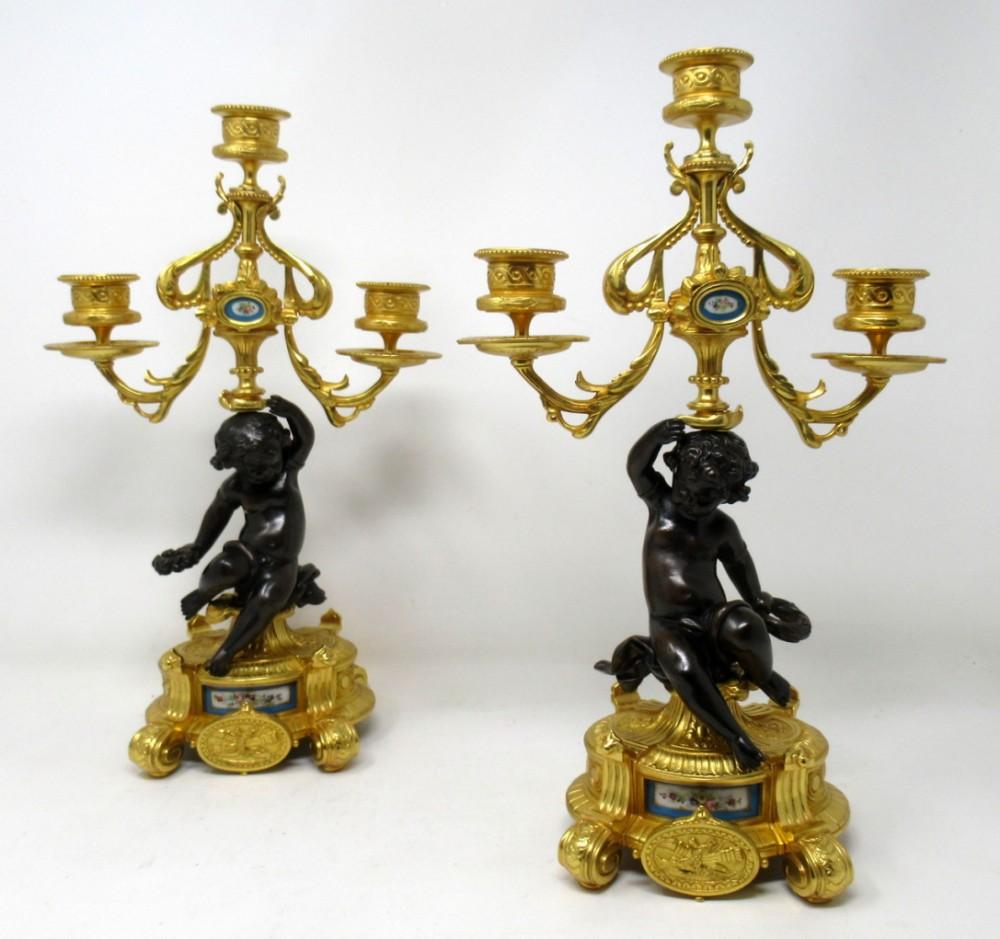 antique pair french sevres porcelain gilt bronze cherub candelabra candlesticks