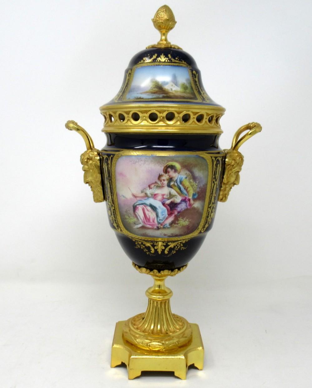 antique french sevres porcelain ormolu gilt bronze urn vase potpourri 19thct