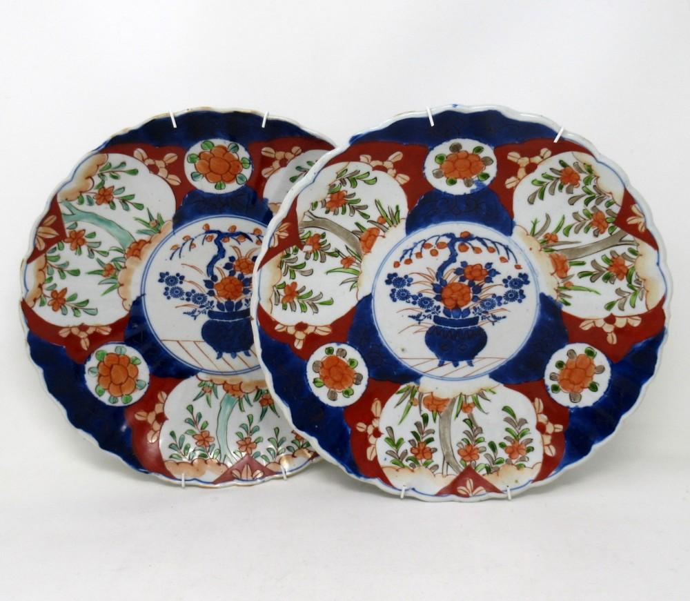 pair antique japanese meji hand painted imari dish centerpiece plate cobalt blue