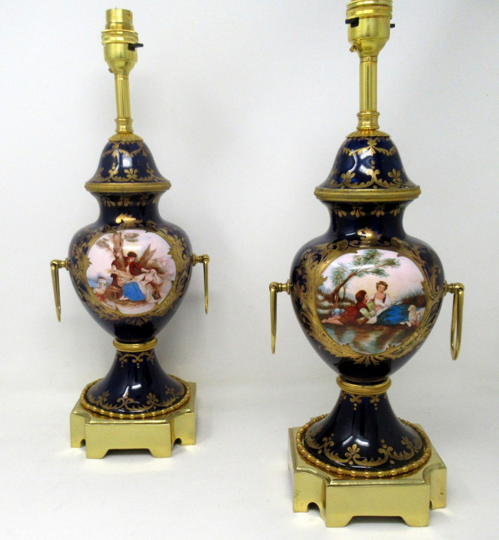 pair of antique french svres porcelain ormolu gilt bronze table urn lamps