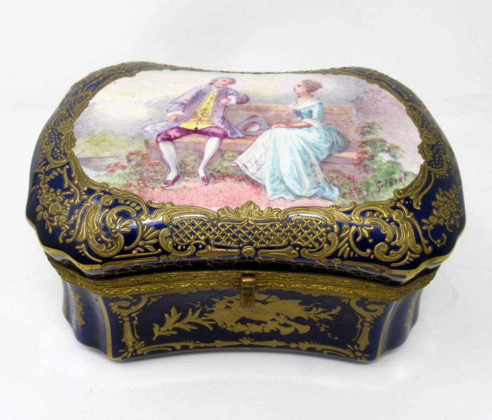 french sevres porcelain hand painted jewellery casket ormolu mounts signed gilbert