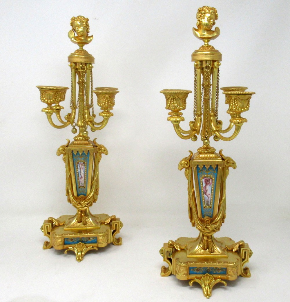 antique pair french sevres porcelain ormolu gilt bronze candelabra barbedienne
