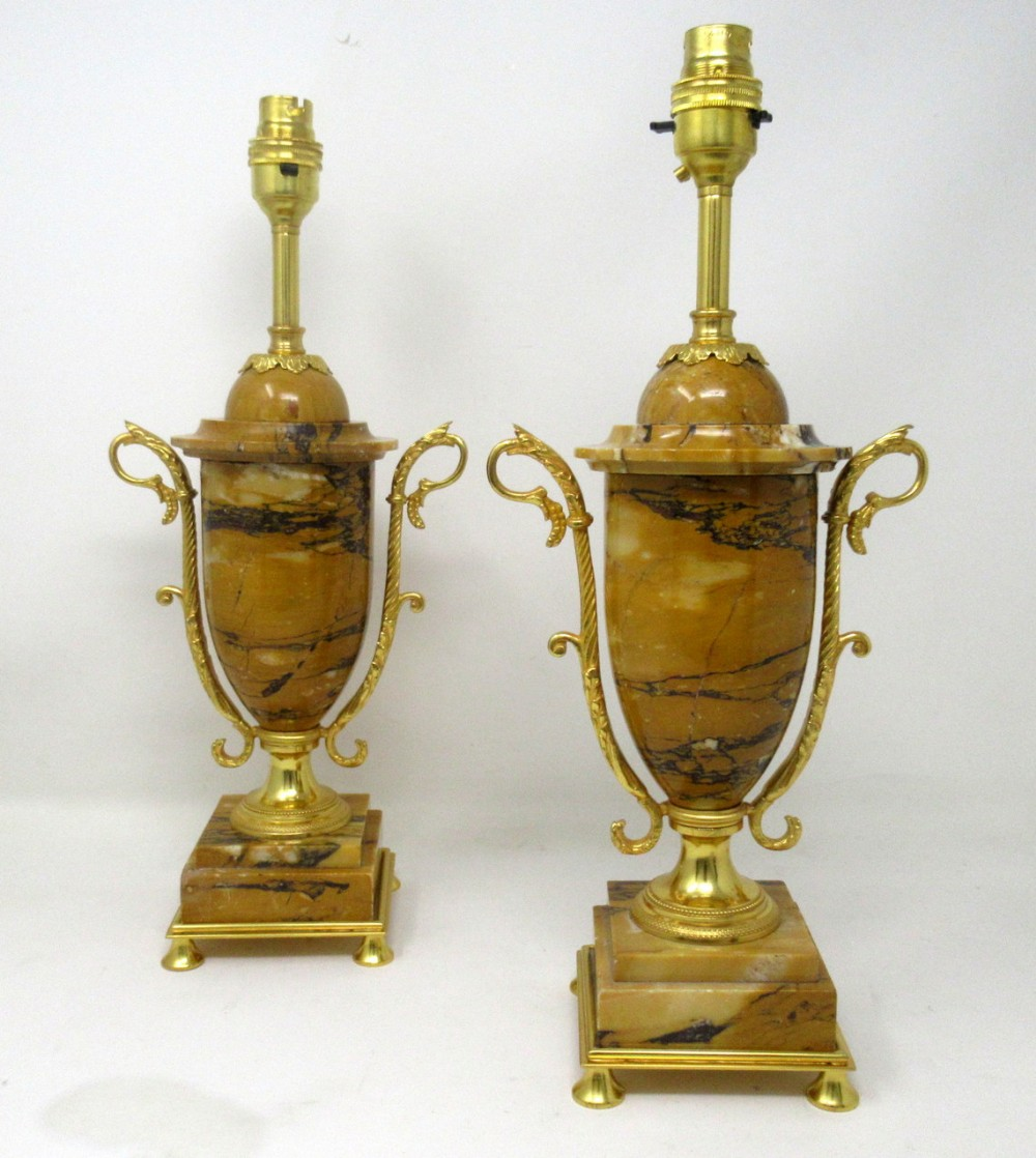 antique pair french giallo sienna marble gilt bronze ormolu electric table lamps