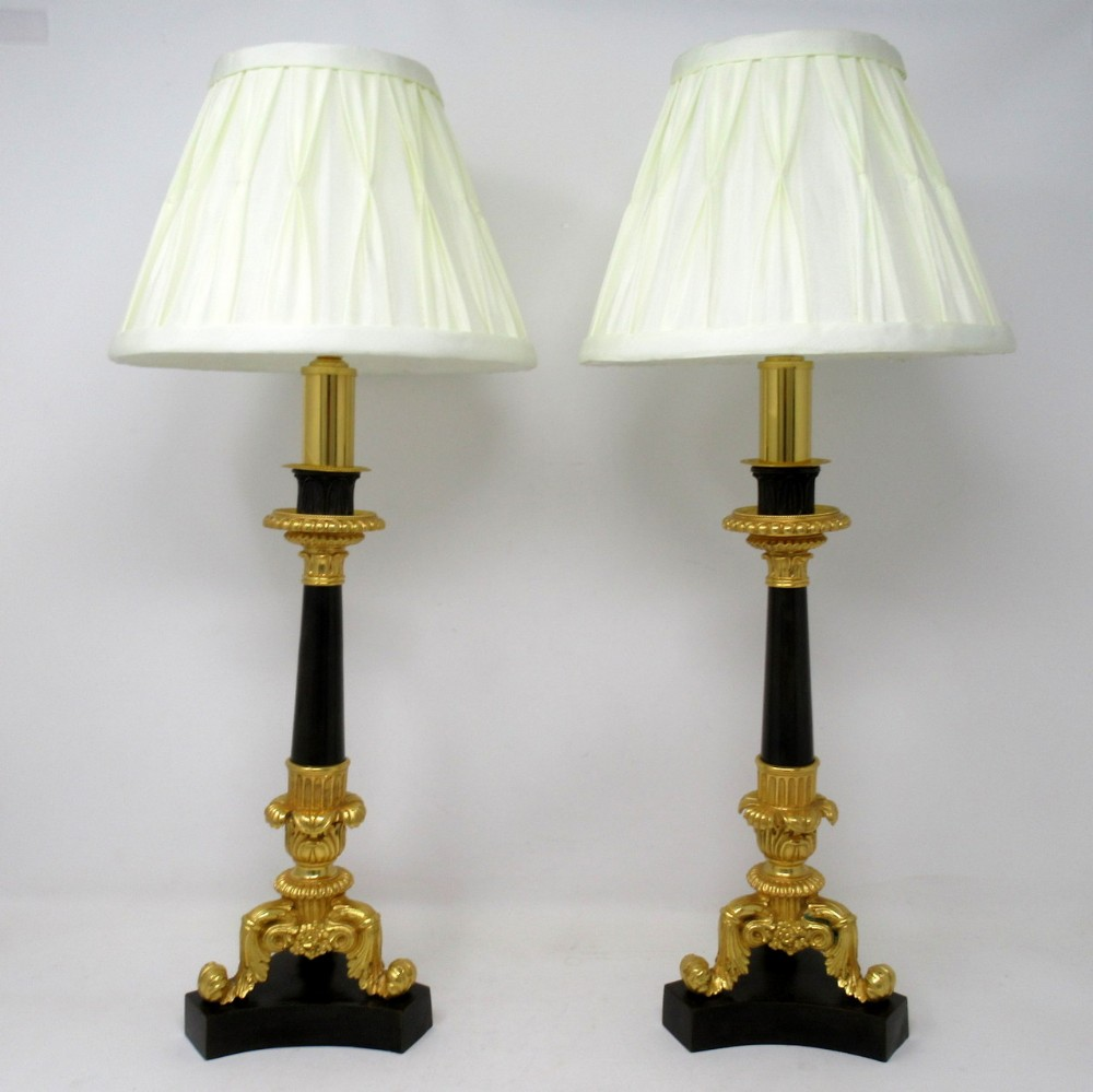 antique pair of french dor bronze neoclassical ormolu gilt candlestick lamps