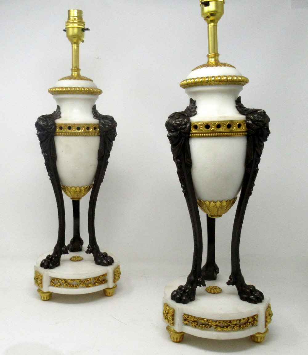 antique pair of french ormolu gilt bronze white cream marble urns table lamps