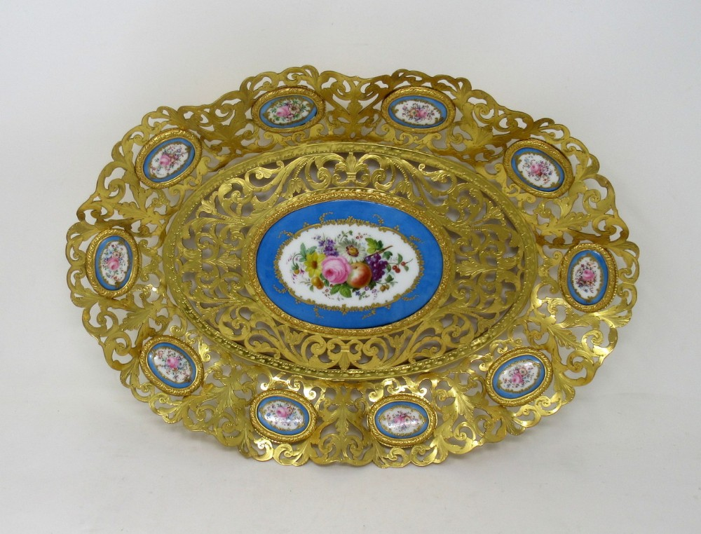 antique french gilt bronze svres porcelain hand painted table centerpiece tray