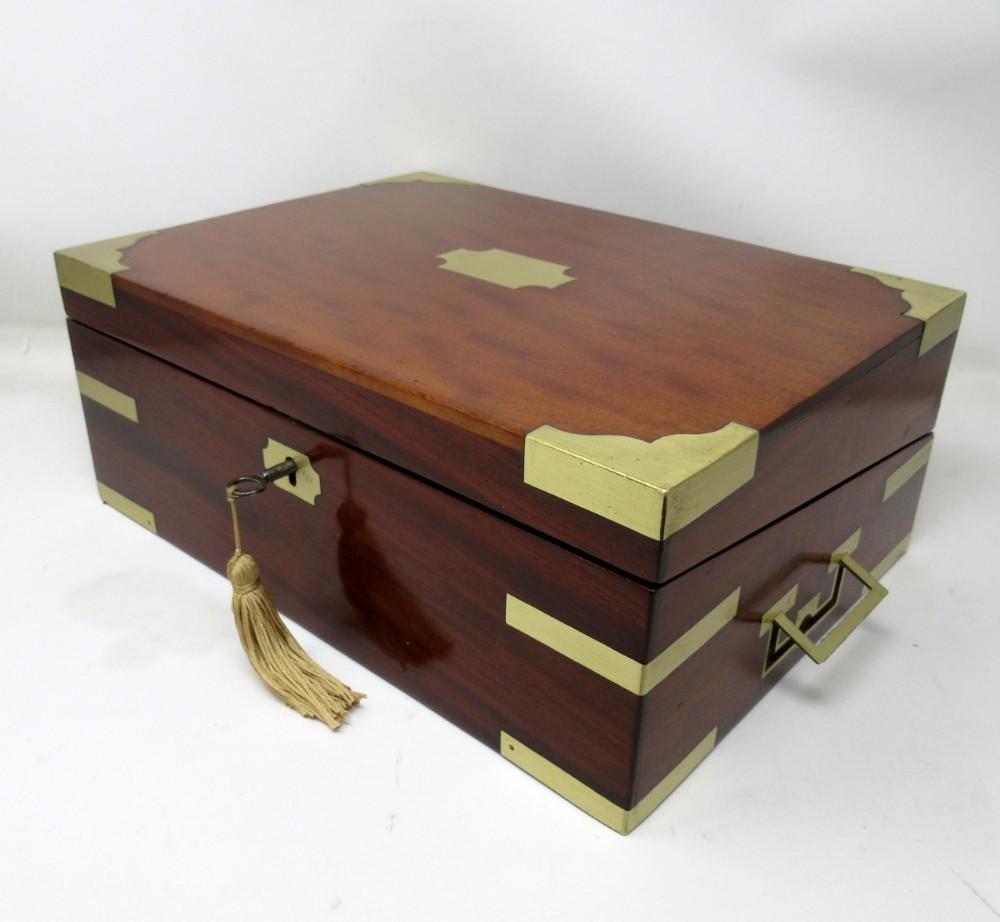 antique georgian mahogany victorian brass bound traveling writing slope box 19ct