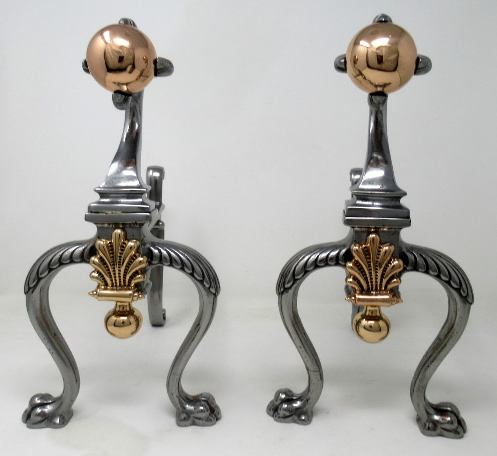 antique pair victorian steel copper fireplace andrions chenets fire dogs 19th ct