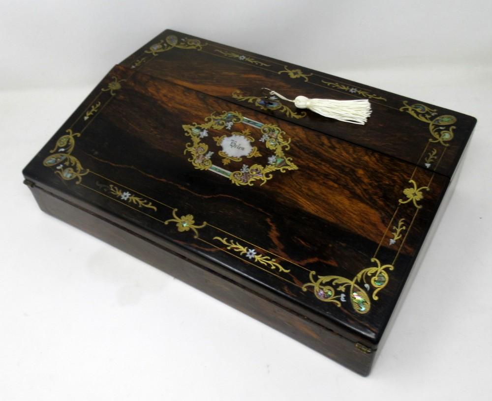 irish coromandel mother of pearl writing slope box by austins dublin circa 1860