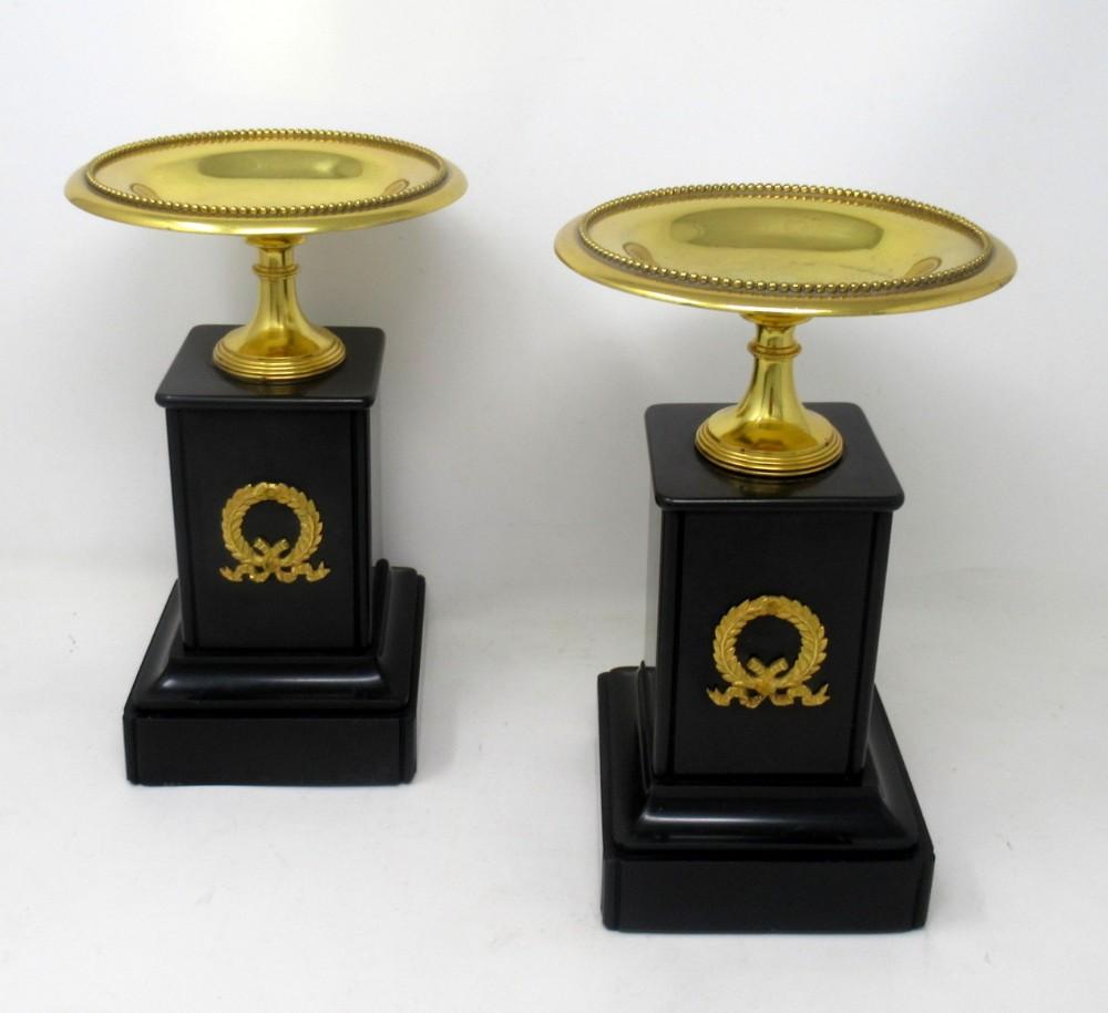 antique pair of grand tour ormolu bronze black marble tazza urns clock garniture 19thct