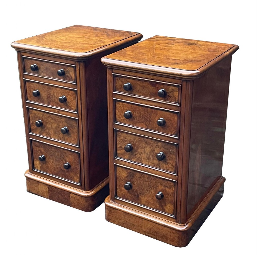 antique pair irish burr walnut victorian bedside lockers attrib robert strahan and co