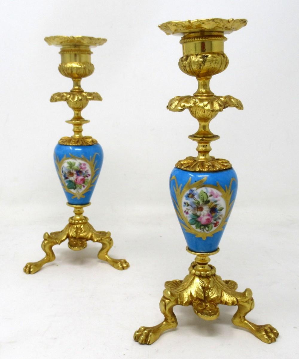 antique pair french ormolu sevres porcelain gilt bronze candlesticks candelabra