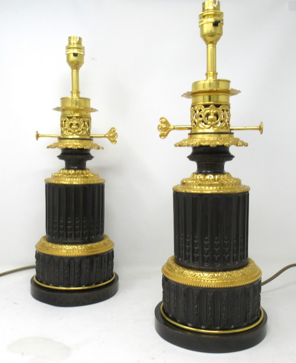 antique pair french gilt bronze electric table lamps ormolu mounts 19th century