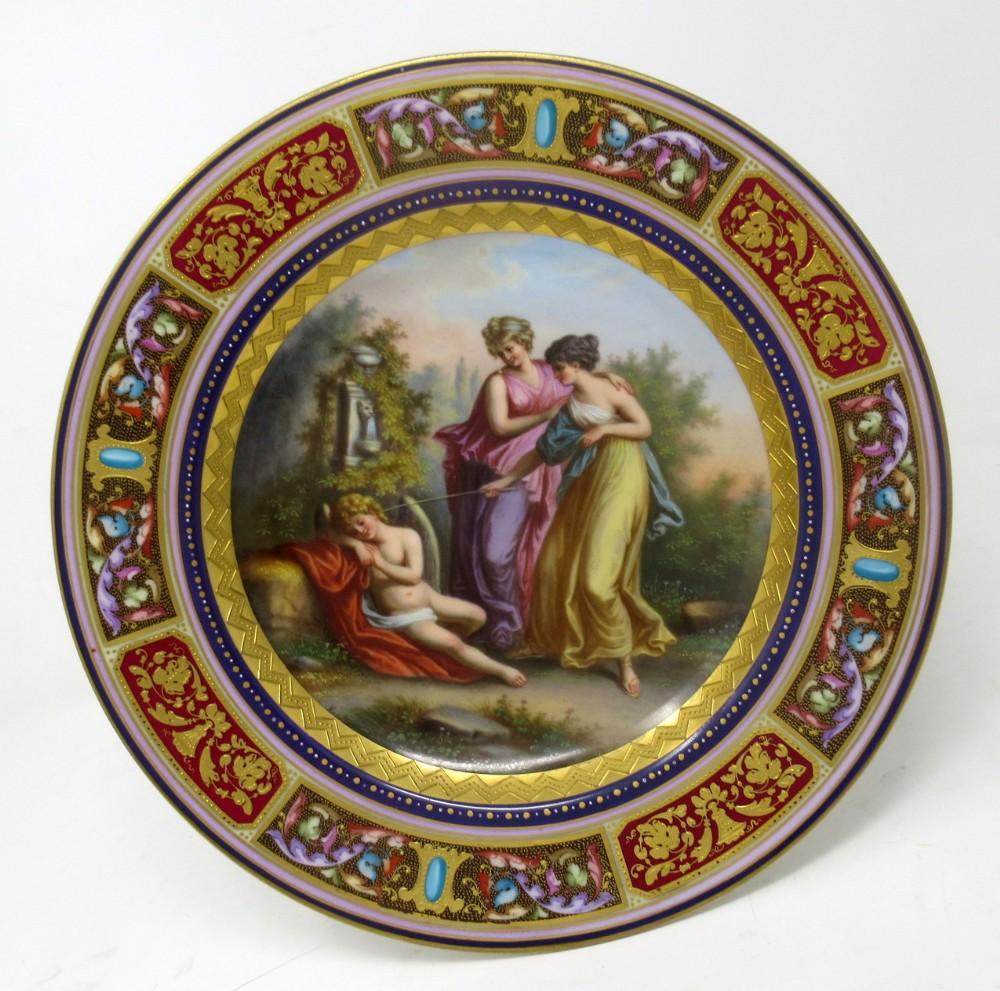 antique austrian royal vienna mythological porcelain hand painted cabinet plate