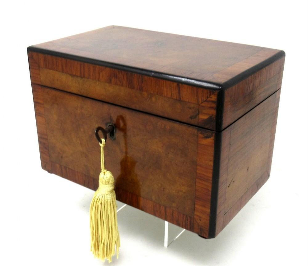 antique inlaid georgian burl walnut english double tea caddy box 19th century