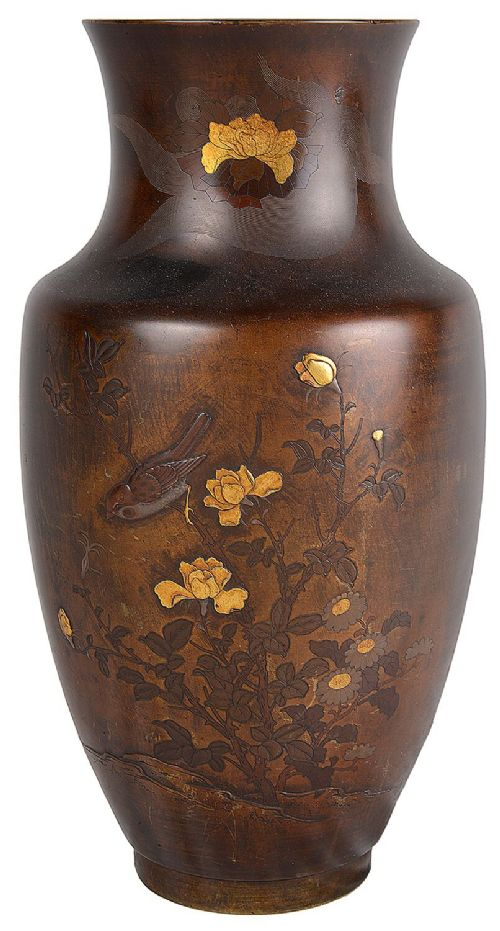 meiji period japanese bronze and gilded vase