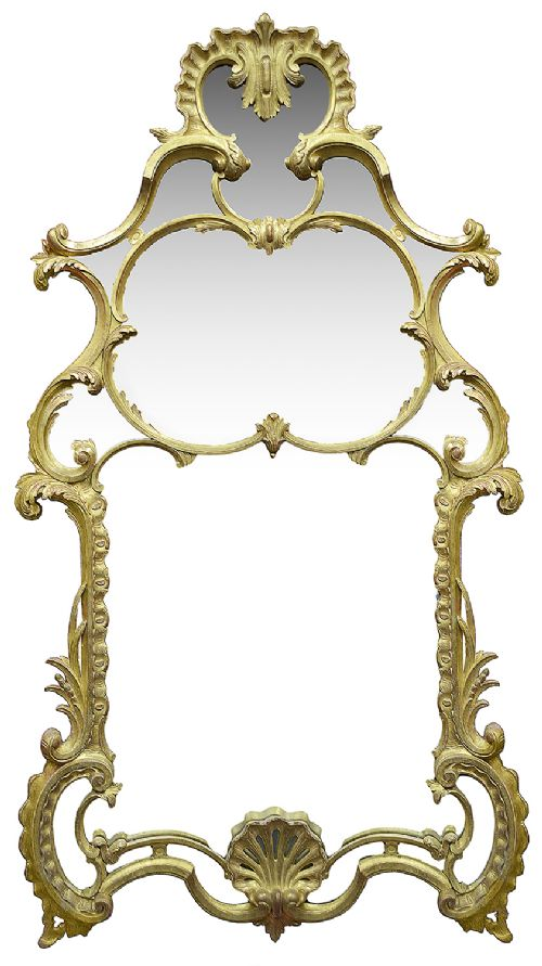 large carved giltwood chippendale style mirror