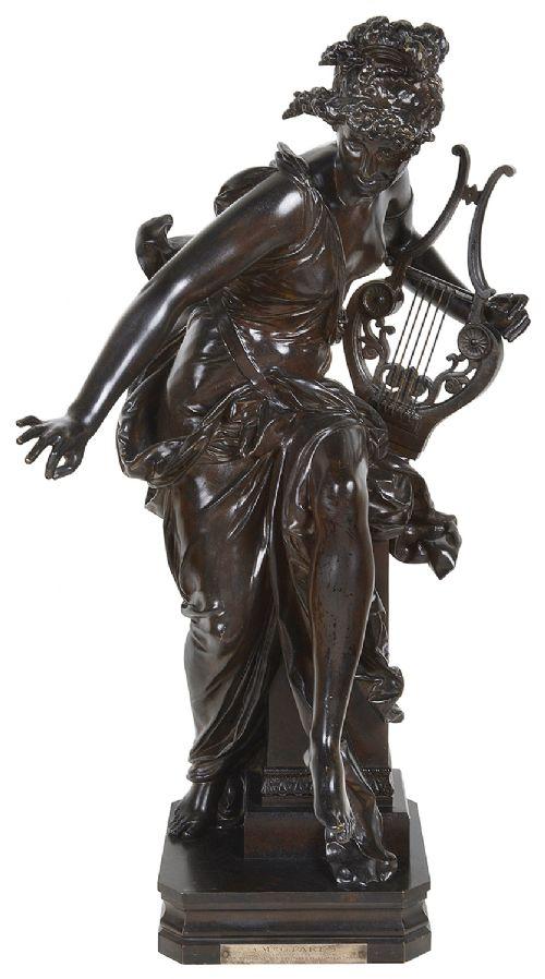 carrierbelleuse bronze female statue holding a harp 'harmone' 19th century