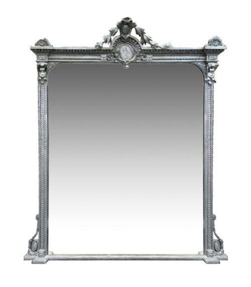 late victorian silver gilt over mantel floor mirror