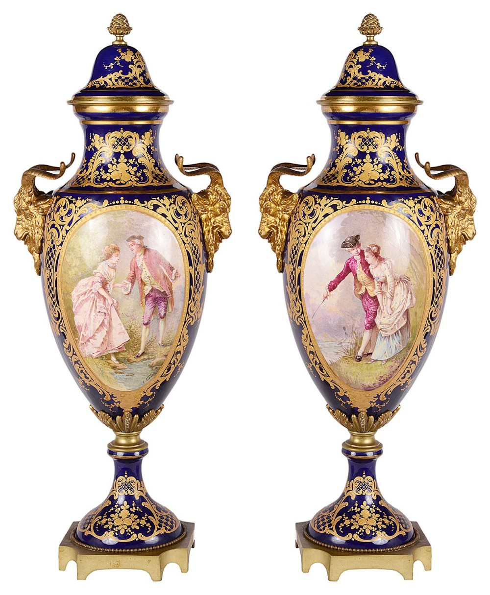 pair of 19th century sevres style vases