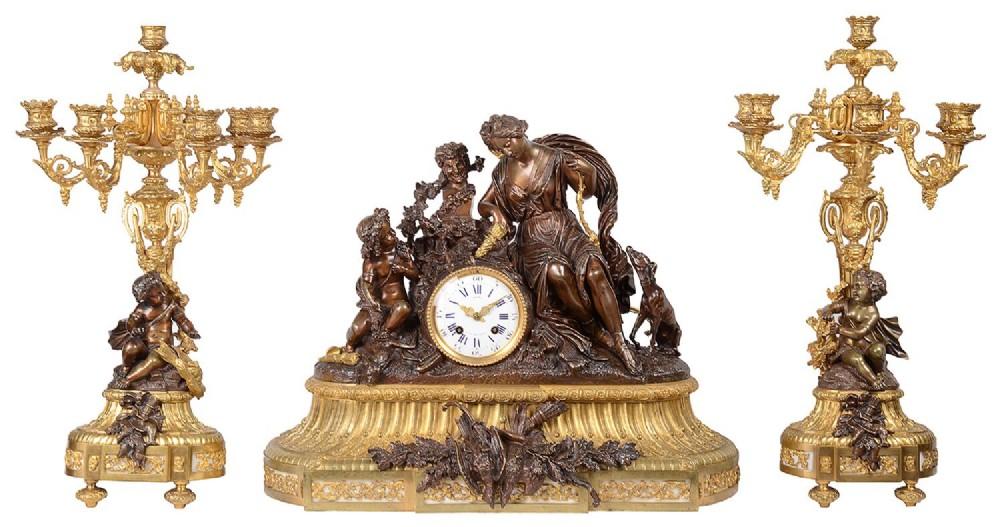 large louis xvi style clock set 19th century