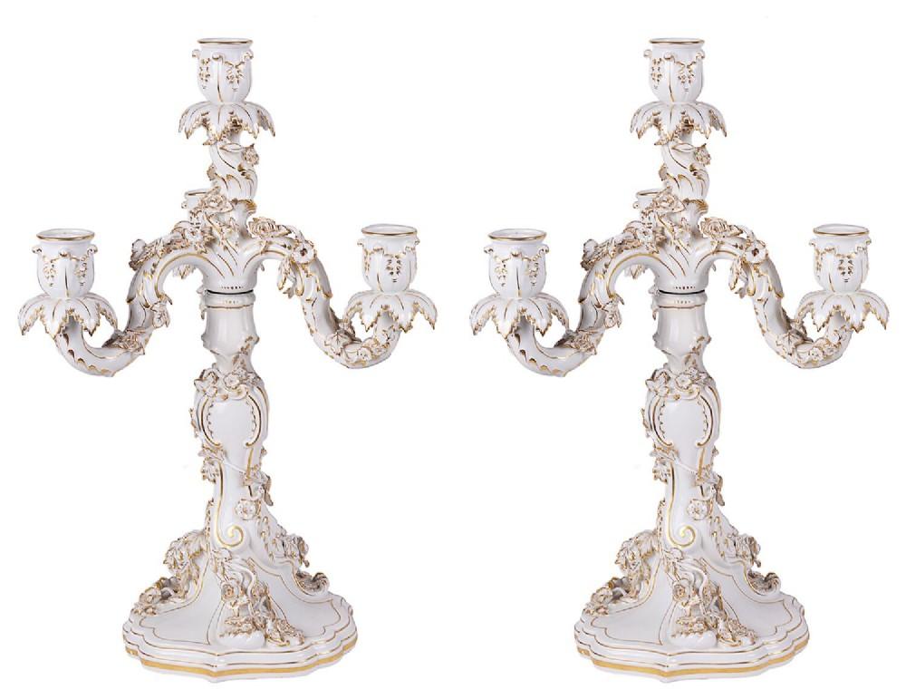 pair of 19th century meissen porcelain candelabra