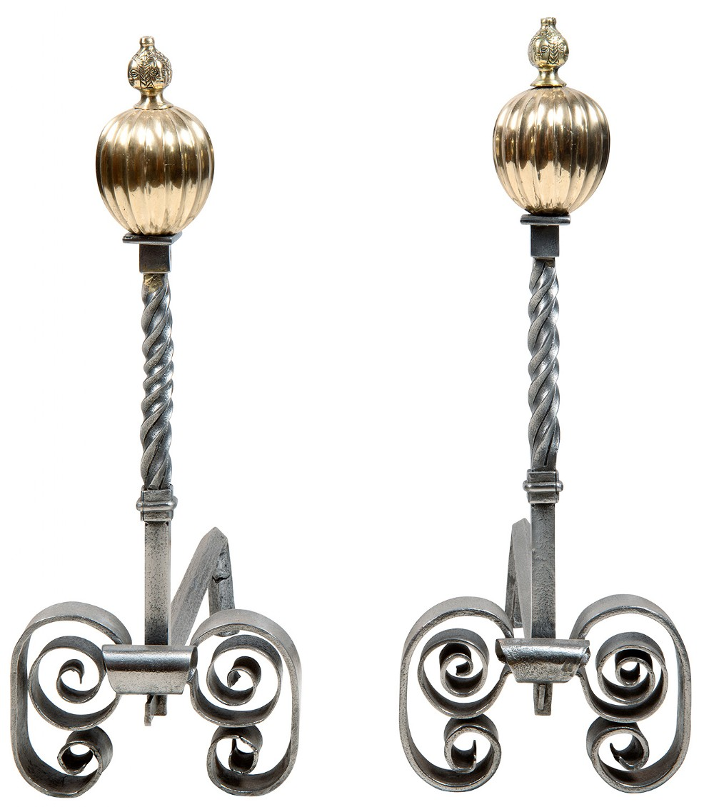 pair of early 19th century classical iron and brass andirons or fire dogs