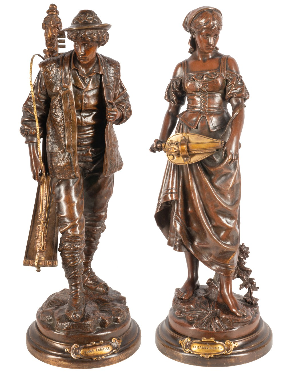 pair of 19th century bronze musicians 49cm
