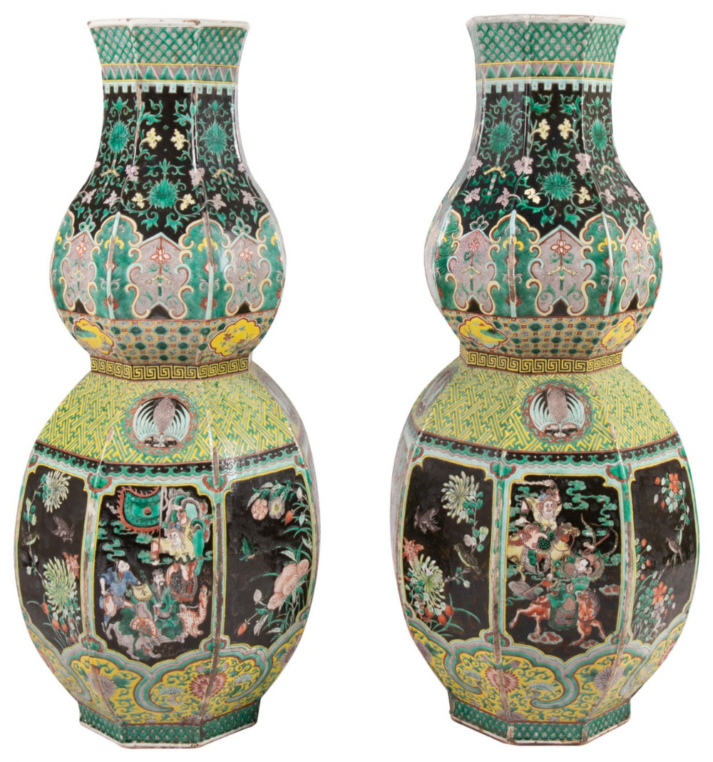 large pair 19th century chinese famille noire double gourd vases