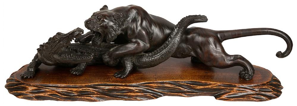 japanese meiji period bronze tiger attacking a crocodile