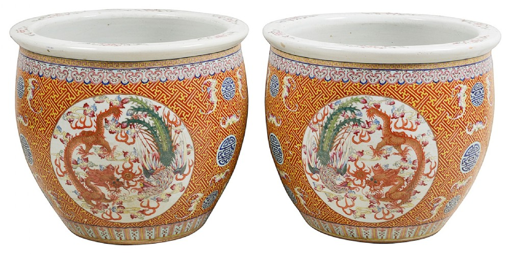 pair of 19th century chinese famille rose jardinires