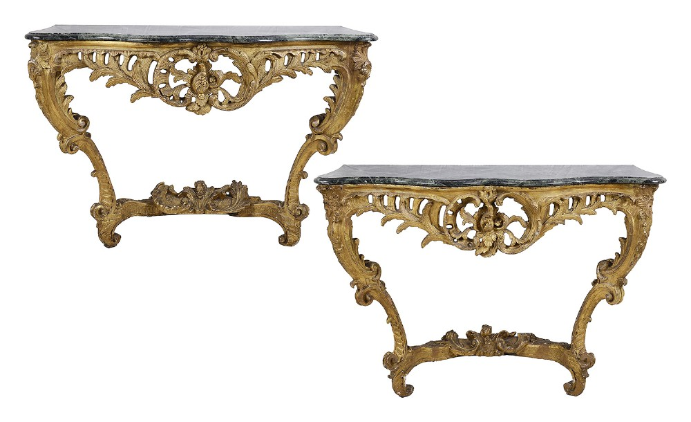 pair of french 18th century carved rococco style giltwood console tables