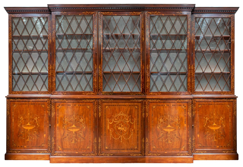fine georgian mahogany inlaid library bookcase circa 1800