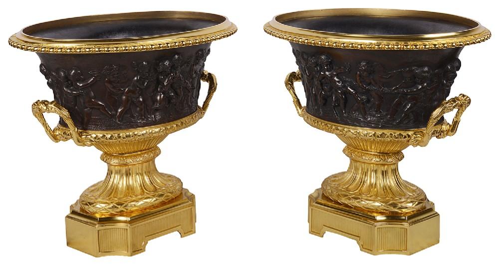 large pair grand tour campana bronze urns 19th century