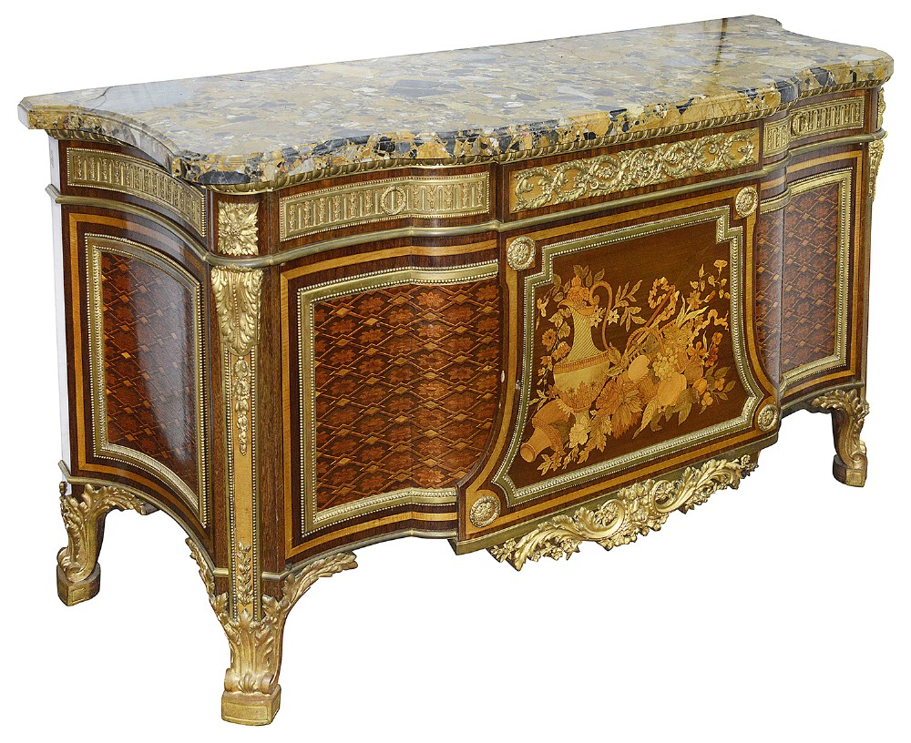 french ormolu mounted mahogany parquetry commode after riesener