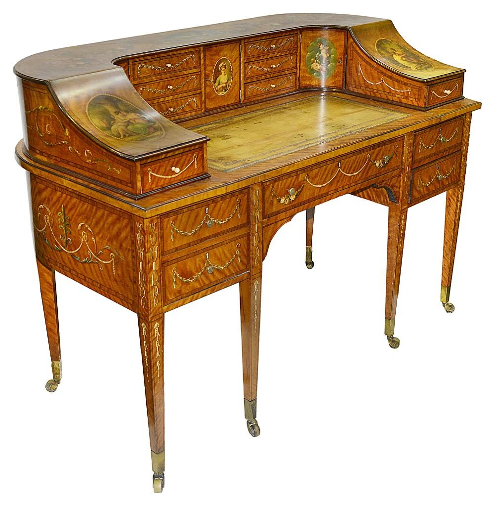 sheraton revival satinwood carlton house desk circa 1890