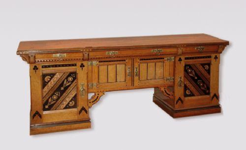 an unusual antique late 19th century oak buffet