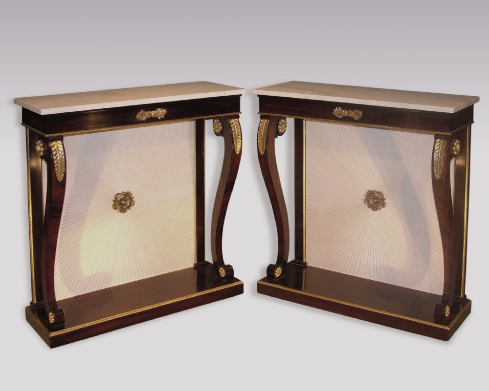 pair of regency period rosewood and simulated rosewood console tables
