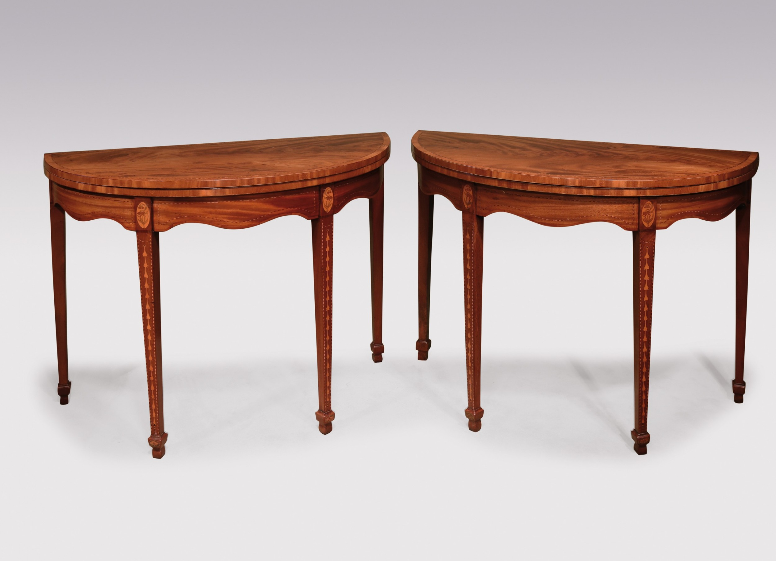pair of sheraton period mahogany card tables