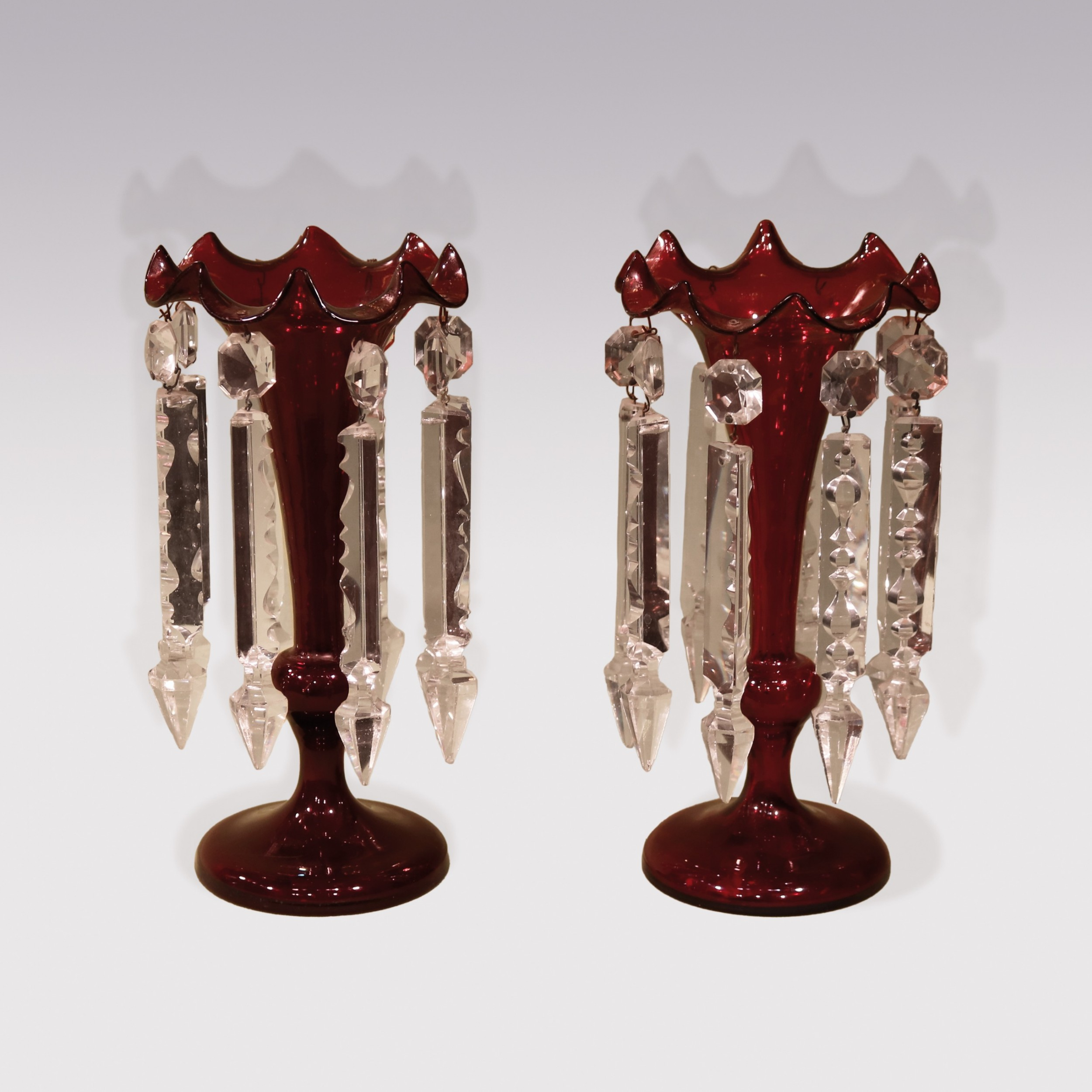 pair of mid 19th century cranbury glass lustres