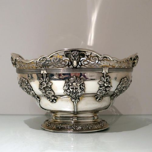 early 20th century antique george v sterling silver large oval bowl london 1918 wakely wheeler