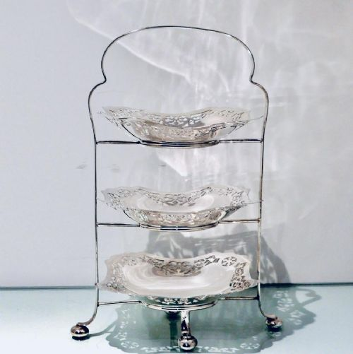 antique edwardian silverplate three tier cake stand circa 1900