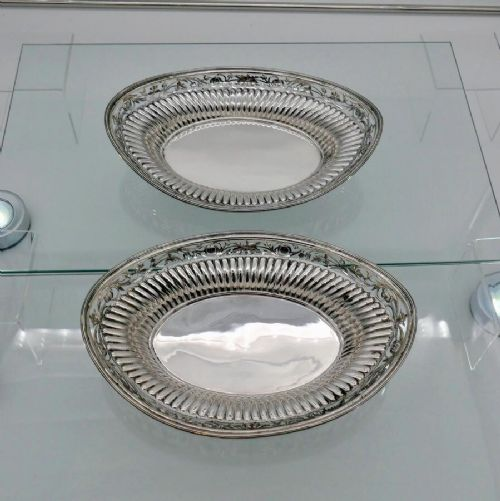 19th century antique victorian sterling silver pair roll dishes london 1885 john brashier