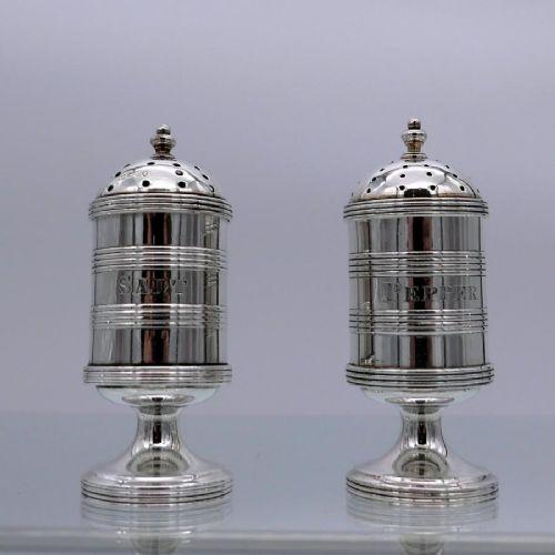 antique victorian sterling silver salt pepper pots london 1882 rowland hill